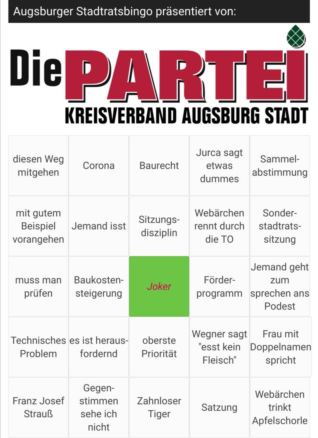 Das offizielle Augsburger Stadtrat-Bingo ist da