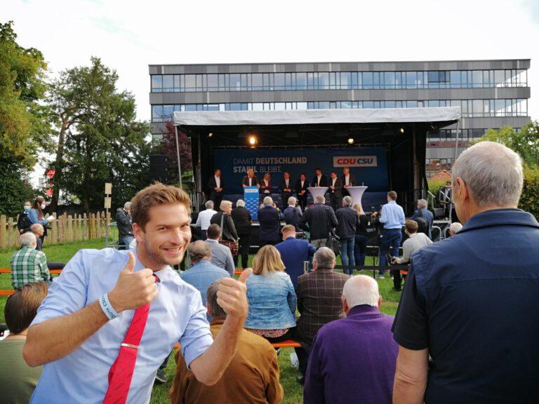 Die Grinsebacke in Augsburg – unser Besuch bei Armin Laschet (#lassetArmin)